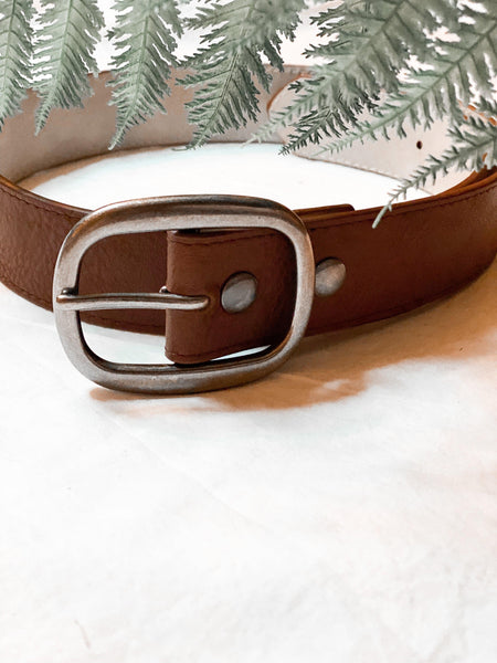 Rugged Faux Leather Belt in Brown