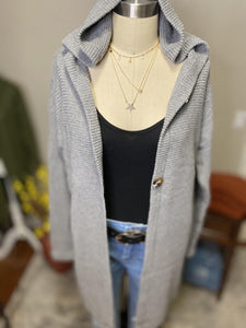Hooded Beach Retreat Cardigan In Grey
