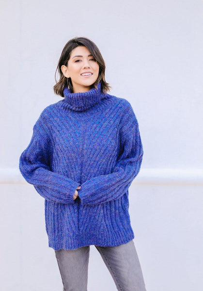 Wintertime Blues Cowl Neck Sweater
