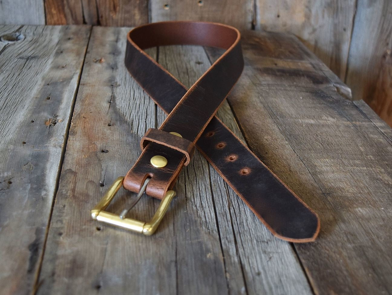 Roller Buckle Belt - Crazy Horse Buffalo & Solid Brass