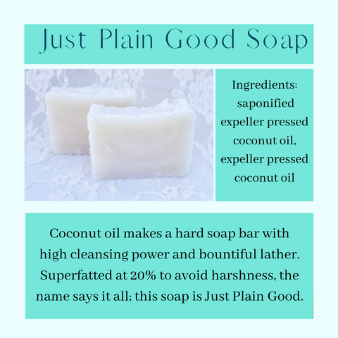 photo of two bars of soap with ingredients list and description