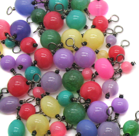 Bright Beads on Black - Colorful Dangle Charms - Adorabilities Charms & Trinkets