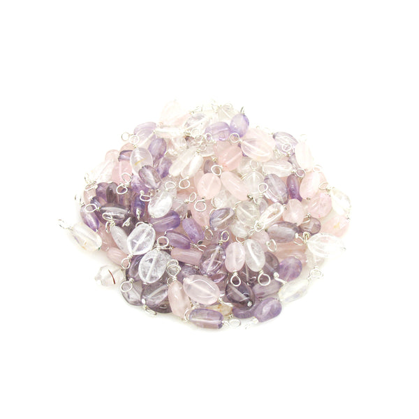 Quartz Bead Charms - Gemstone Clear Pink Purple Bead Dangle Charms - Adorabilities Charms & Trinkets