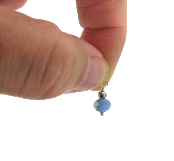 Rondelle Bead Charms - Smoky Blue Bead Dangles - Adorabilities Charms