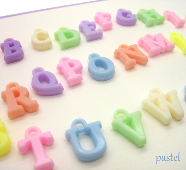 Alphabet Charms - Colorful ABC Letters Acrylic Charms - Adorabilities Charms & Trinkets
