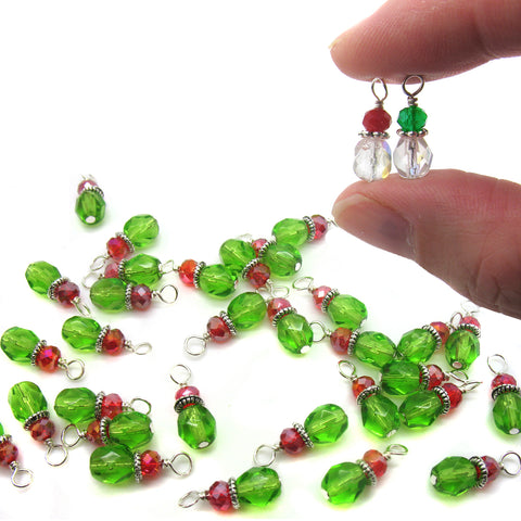 Christmas Bead Charms - Crystal Glass Bead Dangles Red & Green Holiday - Adorabilities Charms & Trinkets