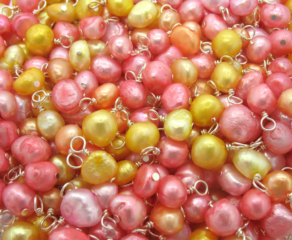 Pearl Charms - Pretty Pink Orange & Yellow Freshwater Pearl Beads - Adorabilities Charms