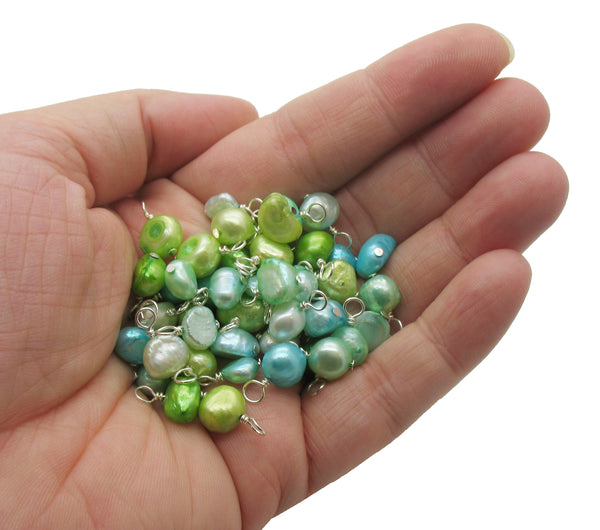 Freshwater Pearl Charms - Blue Aqua Green Pretty Pearl Dangle Charms - Adorabilities Charms