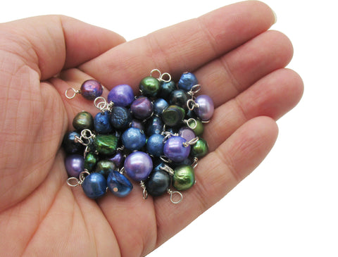 Freshwater Pearl Charm Mix - Pearl Charms in Navy, Emerald & Purple - Adorabilities Charms