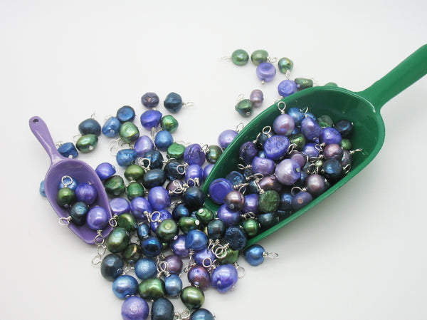 Freshwater Pearl Charm Mix - Pearl Charms in Navy, Emerald & Purple - Adorabilities Charms & Trinkets