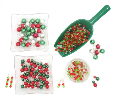 Christmas Charms - Pretty Red & Green Bead Charm Dangles Xmas - Adorabilities Charms