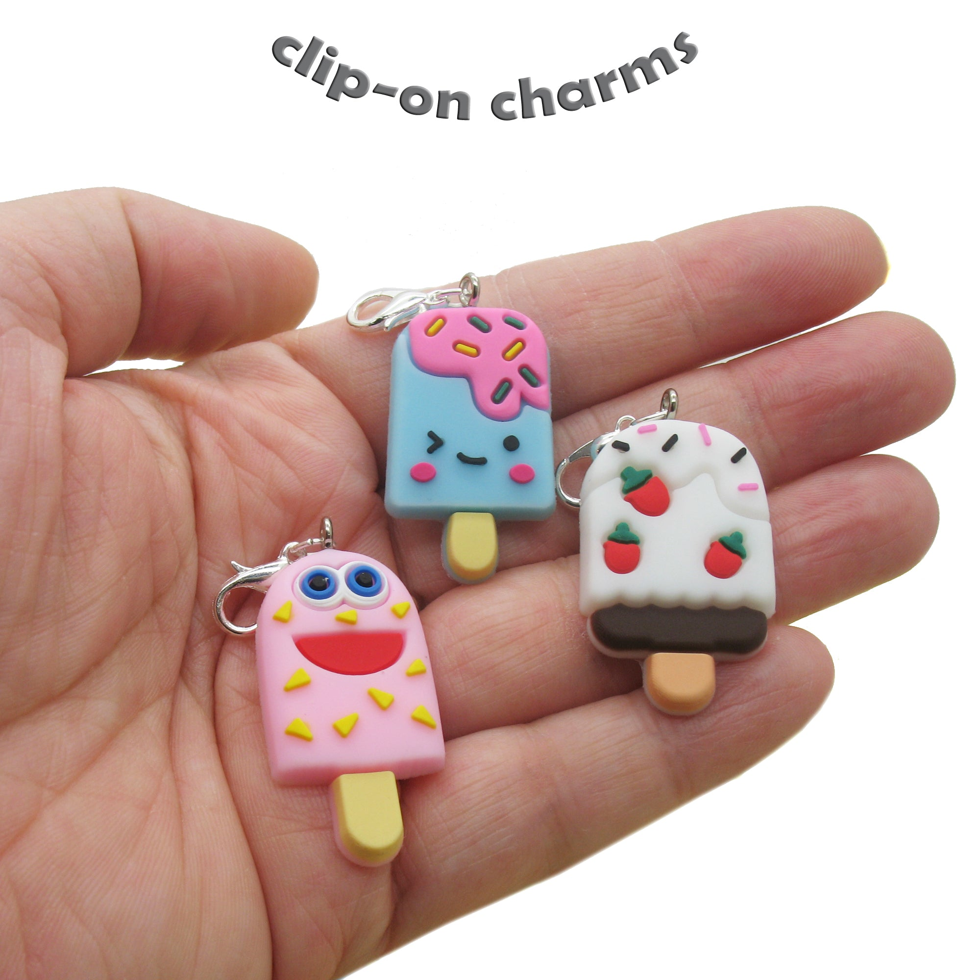 Ice Cream Clip-On Charms - Kawaii Cute Food Charms with Clasps - Adorabilities Charms