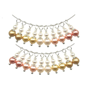 Fancy Dangle Charms made with Swarovski Crystals - Peach & Gold Bead Dangles - Adorabilities Charms