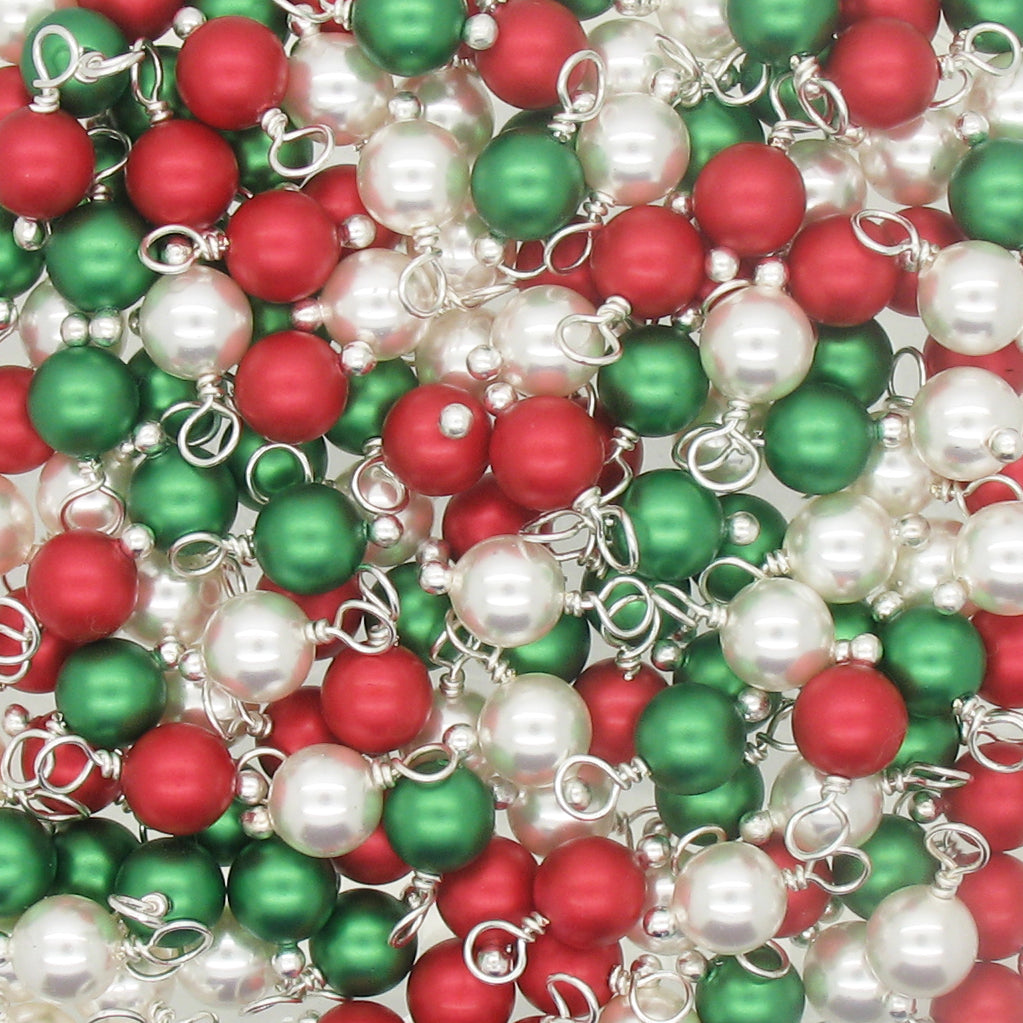 Christmas Charms made with Swarovski Pearls - Silver-Tone Wire Red & Green 6mm Bead Dangles - Adorabilities Charms