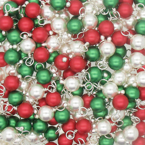 Christmas Charms made with Swarovski Pearls - Silver-Tone Wire Red & Green 6mm Bead Dangles - Adorabilities Charms & Trinkets