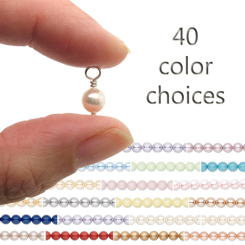 Bead Charms with Swarovski Crystal Pearls - 10 pc - Choose Color - Adorabilities Charms