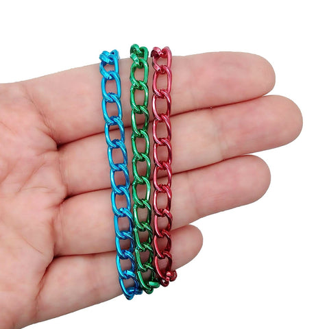 Aluminum Charm Bracelet Chains - 3pc Colorful Lightweight Blank Bracelets - Adorabilities Charms & Trinkets