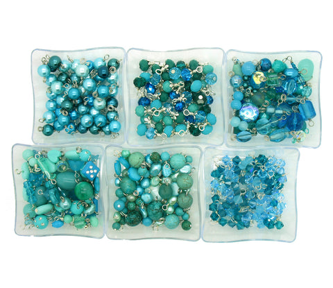 Aqua Bead Charms - 25 pc Grab Bag Acrylic Glass Crystal Natural Styles - Adorabilities Charms