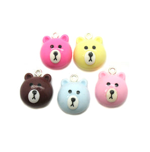 Cute Bear Charms -  Teddy Bear Head Pastel Resin Cabochon Charms - Adorabilities Charms & Trinkets