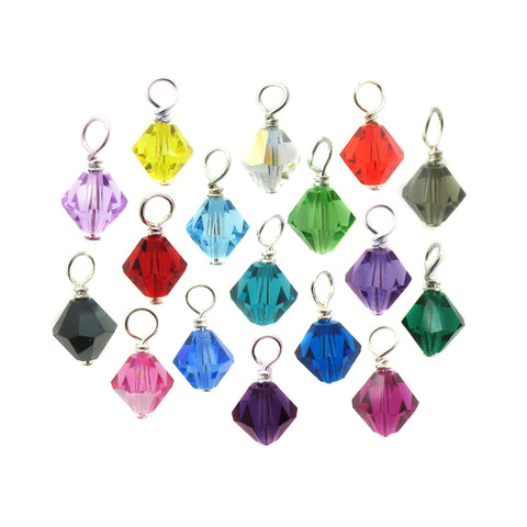 Crystal Bead Dangles - 6mm Czech Glass Bicone Bead Charms - Adorabilities Charms