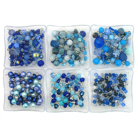 Blue Bead Charms - 25 pc Grab Bag Acrylic Glass Crystal Natural Styles - Adorabilities Charms