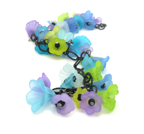 Flower Charm Bracelet - Beautiful Blue Green Purple Bracelet - Adorabilities Charms