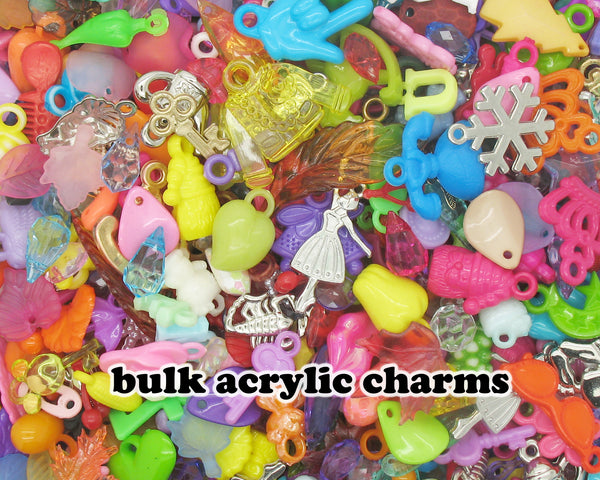 100 Acrylic Charms - Bulk Charms & Pendants Grab Bag - Adorabilities Charms