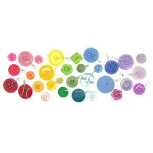 Colorful Button Charms - Plastic Buttons Dangle Charms in Mixed Colors 25 pieces - Adorabilities Charms