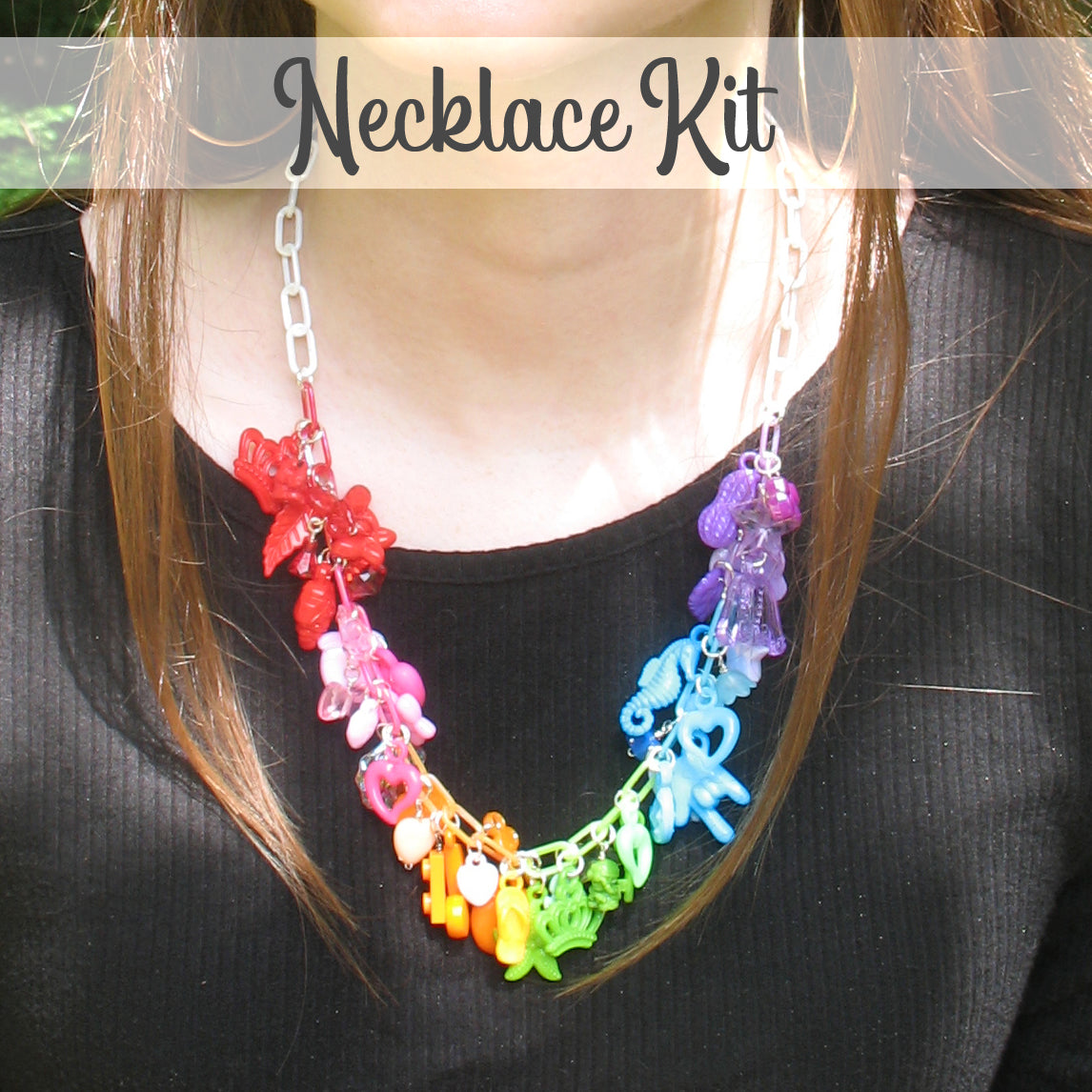 Acrylic Charm Necklace Kit - DIY Kawaii Kandi Rainbow Necklace - Adorabilities Charms