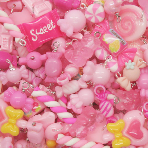 Pink Candy Charms - Mixed Sweets Lollipop Chocolate Kawaii Charms - Adorabilities Charms
