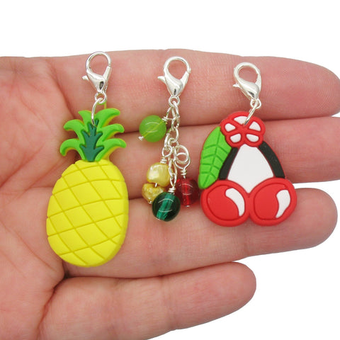 Fruit Clip-On Charm Set - Cherry & Pineapple Lobster Clasp Charms - Adorabilities Charms & Trinkets