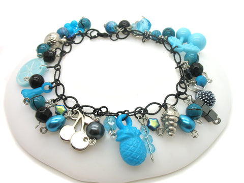 Chunky Charm Bracelet - Blue Fruit Salad - Aqua & Black Kitsch Bracelet - Adorabilities Charms