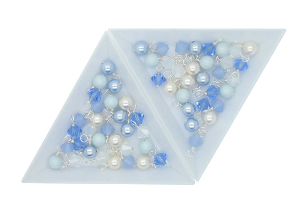 Crystal Bead Charms - Blue & White Pearl and Bicone Dangle Mix - Adorabilities Charms & Trinkets
