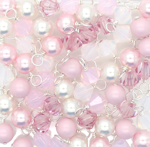 Crystal Bead Charms - Pink & White Pearl and Bicone Dangle Mix - Adorabilities Charms & Trinkets