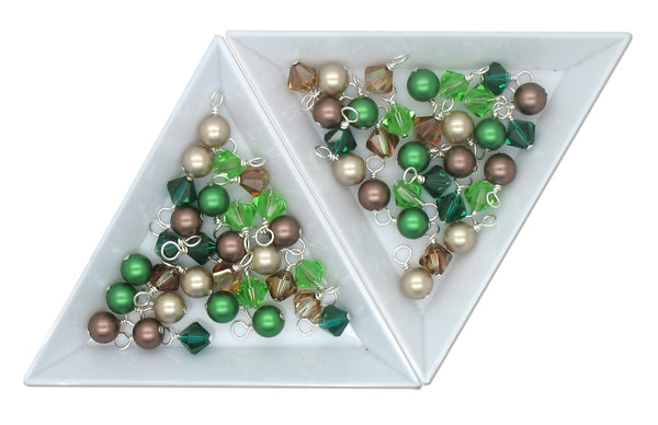 Crystal Bead Charms - Green & Brown Pearl and Bicone Dangle Mix - Adorabilities Charms