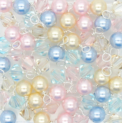 Crystal Bead Charms - Pastel Pearl and Bicone Dangle Mix - Adorabilities Charms & Trinkets