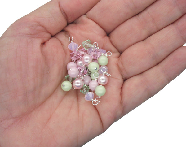 Crystal Bead Charms - Pink & Green Pearl and Bicone Dangle Mix - Adorabilities Charms
