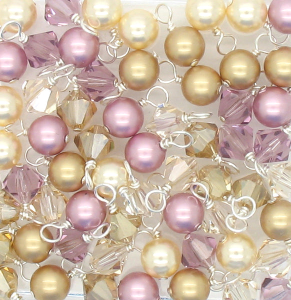 Crystal Bead Charms - Purple & Gold Pearl and Bicone Dangle Mix - Adorabilities Charms & Trinkets