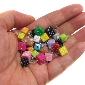 Dice Charms - Tiny Dice Beads Colorful Kawaii Die Charms - Adorabilities Charms & Trinkets