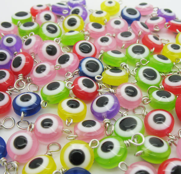 Eyeball Bead Charms - Colorful Evil Eye Acrylic Bead Dangles - Adorabilities Charms