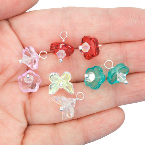 Flower & Butterfly Bead Charms - Pretty Glass Earring Charms - Adorabilities Charms
