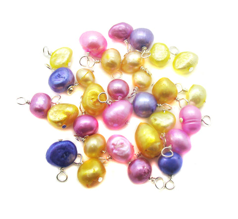 Freshwater Pearl Bead Charms - Pink Purple Yellow Pearls Dangles - Adorabilities Charms