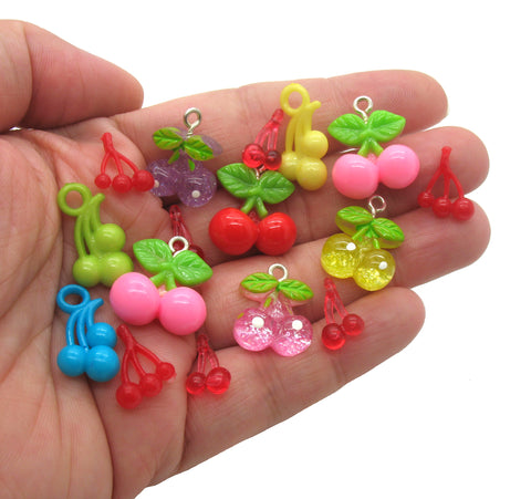 Cherry Charms - Cherries Food Fruits Flatback Resin Cabochon Charms - Adorabilities Charms & Trinkets