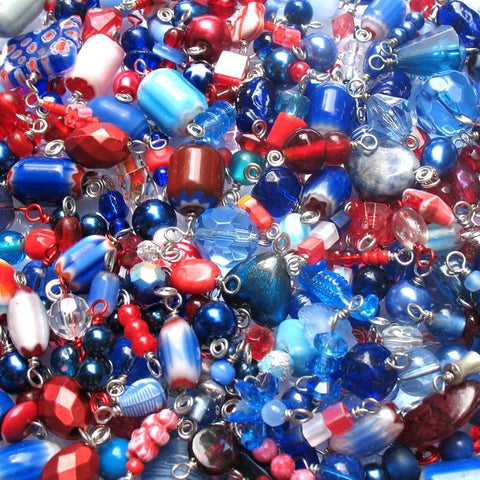 Red & Blue Charms Grab Bag - Bulk Bead Charms Fourth of July - Adorabilities Charms