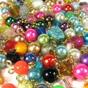 Bead Charms Grab Bag - Gold Wire-Wrapped Bead Dangle Charms - Adorabilities Charms & Trinkets