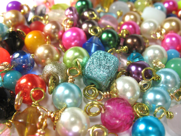 Bead Charms Grab Bag - Gold Wire-Wrapped Bead Dangle Charms - Adorabilities Charms