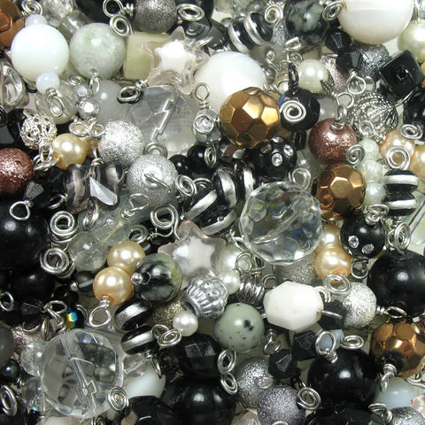 100 Bead Charms Grab Bag - Wholesale Bead Charms in Black & White - Adorabilities Charms