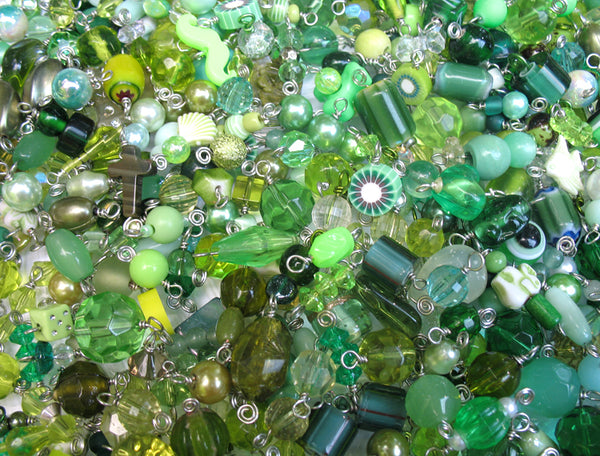 Green Bead Charms Grab Bag - Bulk Glass & Acrylic Dangle Charms - Adorabilities Charms