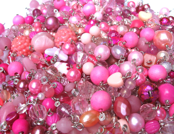 Pink Bead Charms Grab Bag - Bulk Glass & Acrylic Dangle Charms - Adorabilities Charms & Trinkets