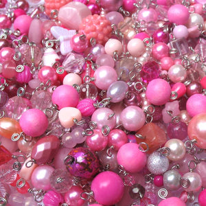Pink Bead Charms Grab Bag - Bulk Glass & Acrylic Dangle Charms - Adorabilities Charms